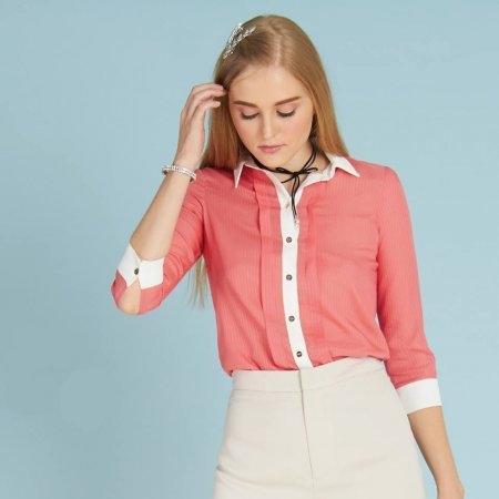 เสื้อเชิ้ตทำงานผู้หญิง สีส้มโอโรส   Jousse JQ35ME