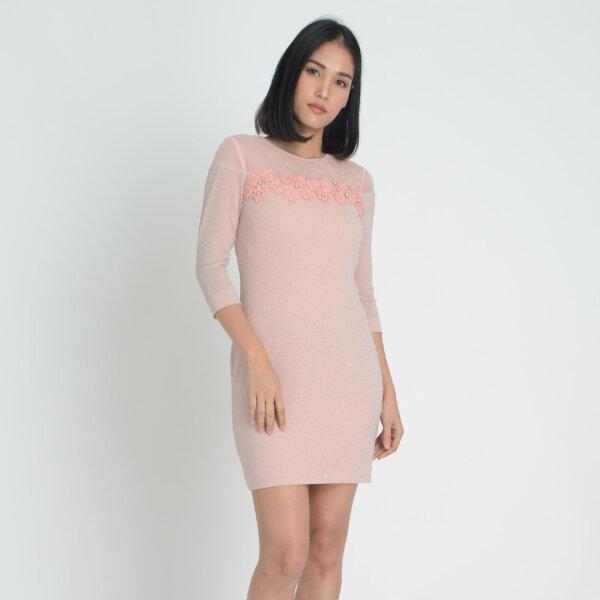 Jousse Dress ชุดเดรสออกงานสีชมพูหวาน แต่งกลิตเตอร์ V938PI