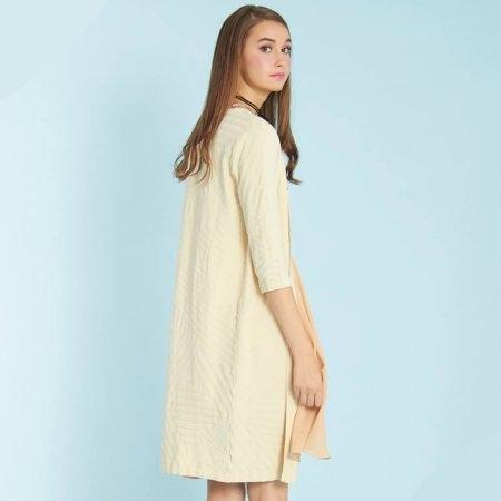 เสื้อคลุมแฟชั่น คาร์ดิแกนตัวยาว ผ้ายืด สีเบจ | Jousse