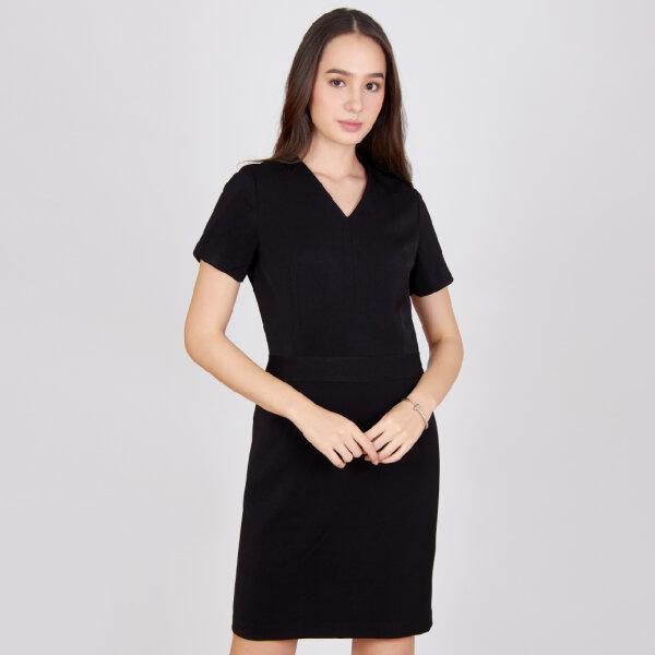Jousse Dress ชุดเดรสทำงานสีดำ คอวีแขนสั้น ทรงสอบ ความยาวสุภาพ JV26BL