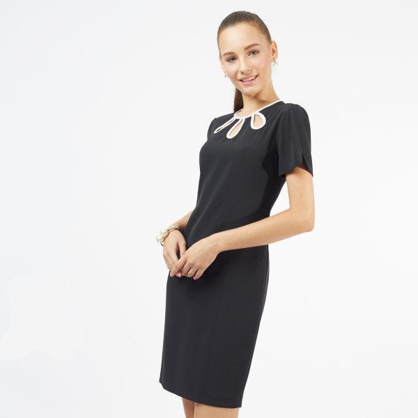 Jousse Dress ชุดเดรสทำงาน ชุดเดรสสีดำ ทรงสอบเข้ารูป แต่งช่วงคอ JP31BL