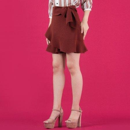 กางเกงกระโปรงสีเลือดหมู ตกแต่งระบายและโบว์เพิ่มความน่ารัก | Jousse JS1IDW