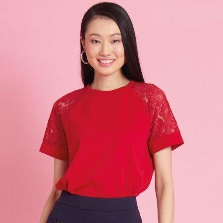 เสื้อผู้หญิงคอกลม ตกแต่งลูกไม้ สีแดง ใส่สบายได้ทุกโอากาส  Jousse JR4TMR