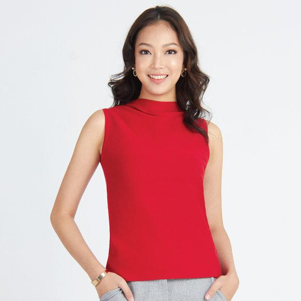 Jousse Blouse เสื้อแขนกุดสีแดง คอปีน ผ้านิต ผ้ายืด
