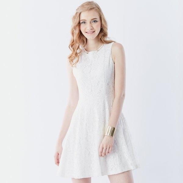 Jousse Dress ชุดเดรสผ้าลูกไม้ คุณภาพพรีเมี่ยม แขนกุด ทรงเอ JL1TWH