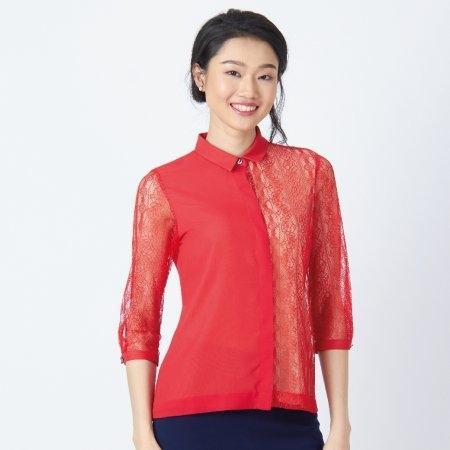 เสื้อเชิ้ตสีแดง ตัดต่อลูกไม้สุดเปรี้ยว แขน 5 ส่วน | Jousse JS1SRE