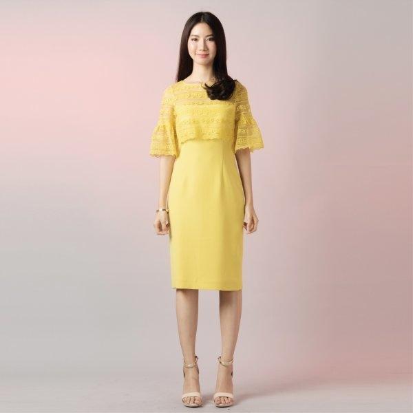 Jousse Dress ชุดเดรสสีเหลือง ใส่ไปงาน ตกแต่งลูกไม้ เรียบหรูดูแพง  JS3QYE