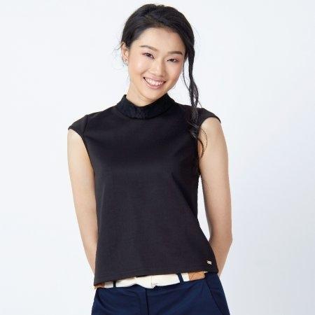 เสื้อแขนกุดสีดำ คอปีนตกแต่งลูกไม้ | Jousse