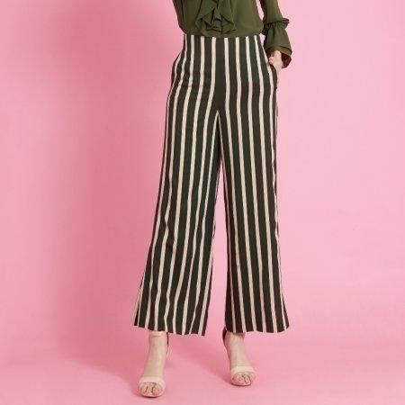 กางเกงขายาวเอวสูง ทรงบาน ลายทางสีเขียวและเบจ | Jousse