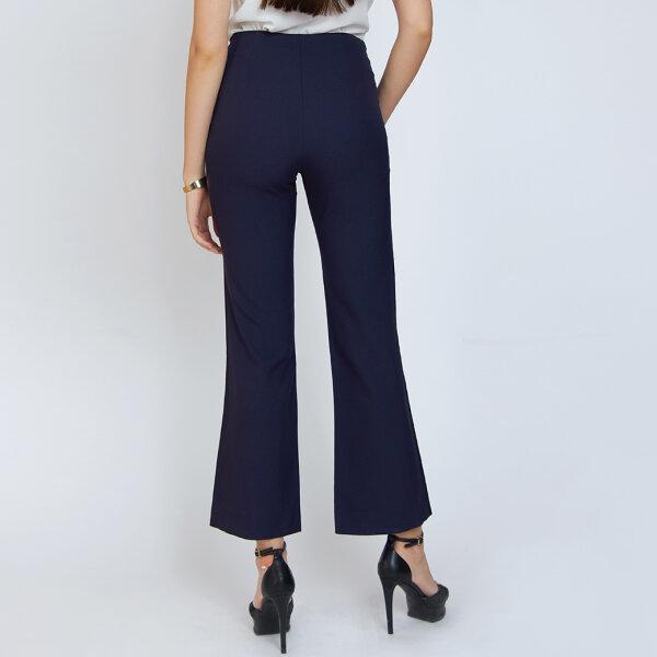 Jousse Pants กางเกงขายาวเอวสูง สีกรม ตกแต่งกระดุม 6 เม็ด ทรงขาม้า JT5VNV