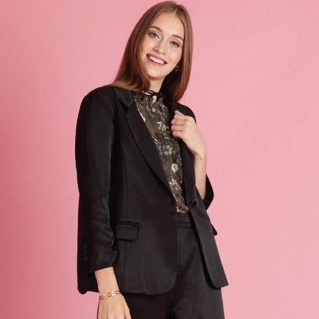 เสื้อแจ็คเก็ตแฟชั่น ทรงสูทตัวยาว แนวสตรีท สีดำ | Jousse JR3IBL