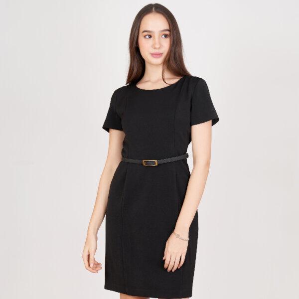 Jousse Dress ชุดเดรสทำงานสีดำ คอกลมแขนสั้น ทรงสอบเข้ารูป เนื้อผ้าอยู่ทรง ยับยาก JV23BL