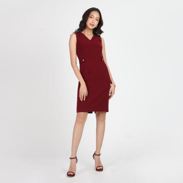Jousse Dress ชุดเดรสทำงาน เดรสทำงาน เดรสใส่ทำงาน แขนกุด สีแดง แต่อินทนูข้างเอว ทรงสอบเข้ารูป JT6SDE