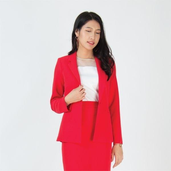 เสื้อแจ็คเก็ตทรงสูท สีแดงสุดเปรี้ยว เก็บเข้าทรงอย่างดี | Jousse JS14RE