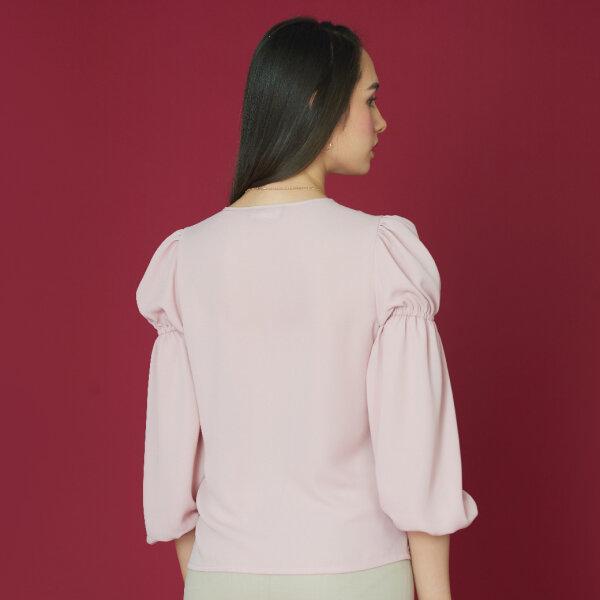 Jousse Blouse เสื้อเบลาส์ชีฟองสีชมพู จั้มแขน ยาว  ส่วน JWIXLP