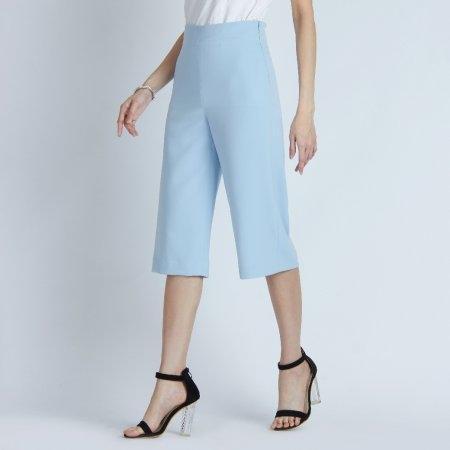 กางเกงผู้หญิง 4 ส่วน ทรงบานสีฟ้า ซิปข้าง | Jousse JR5MBU