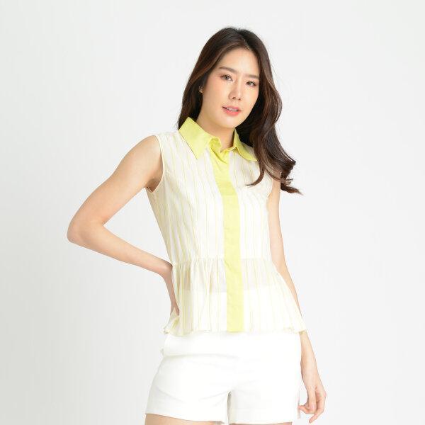 Jousse Shirt เสื้อเชิ้ต แขนกุดสุดคิวท์ สีเบจ คอปกและสาปสีเหลือง JL4KWH