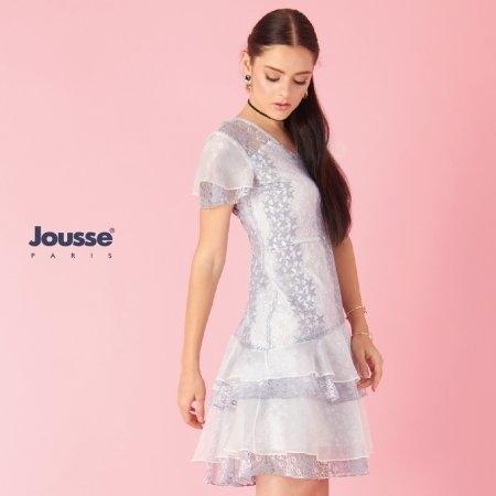 เดรสออกงาน ผ้าลูกไม้ลายดาว ตกแต่งระบาย | Jousse