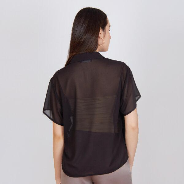 Jousse Blouse เสื้อชีฟองสีดำซีทรู เนื้อผ้าบางเบา ใส่สบาย คอปก กระดุมหน้า JV11BL