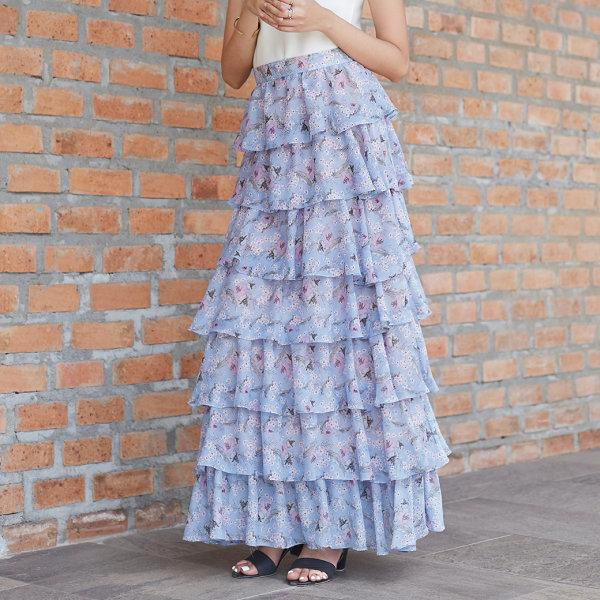 Jousse Skirt กระโปรงชีฟองยาวระบาย 7 ชั้น ลายดอกไม้สีฟ้า JT5PDB