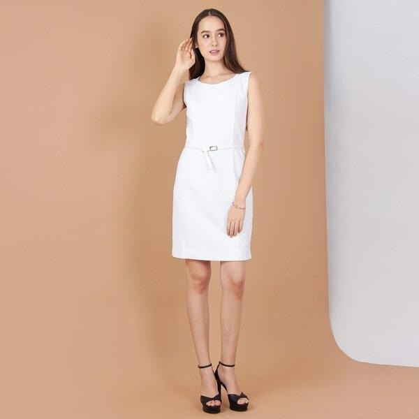 Jousse Dress ชุดเดรสทำงานสีขาว แขนกุด ทรงสอบเข้ารูป ความยาวสุภาพ JV21WH