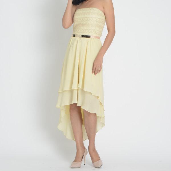 Jousse Dress ชุดเดรสออกงาน เกาะอกแต่งลูกไม้ สีครีม V725LY