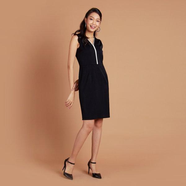Jousse Dress ชุดเดรสทำงาน แขนกุดสีดำ ทรงสอบเข้ารูป JULFBL