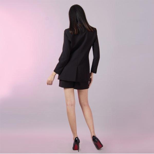 เสื้อแจ็คเก็ตสีดำ เบลเซอร์ ตัวยาว ทรงโมเดิร์น | Jousse JS12BL