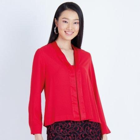 เสื้อทำงานผู้หญิงแขนยาว สีแดง ตกแต่งแถบหน้าด้วยผ้าซาติน | Jousse