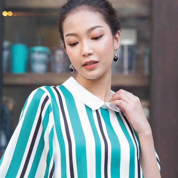 Jousse Blouse เสื้อลายทางสีเขียวตัดขาว ดีเทลคอปก ผ้าซาติน JT7NGR