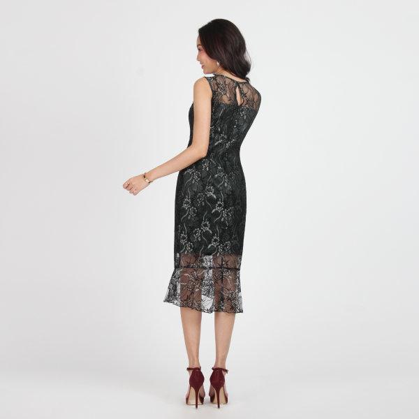 Jousse Dress ชุดเดรสออกงาน ผ้าลูกไม้ทอสองสีเขียวและดำ แขนกุด JT7VBL