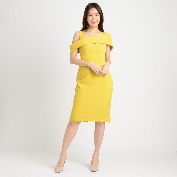 Jousse Dress ชุดเดรสออกงานสีเหลือง ปาดไหล่ สีเหลือง ทรงสอบเข้ารูป JT5GYE
