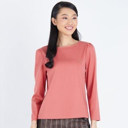เสื้อทำงานผู้หญิง คอกลมแขนยาว สีส้มอิฐ | Jousse