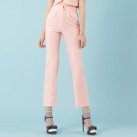 กางเกงขายาวทรงกระบอก เอวสูง สีส้มโอโรส | Jousse