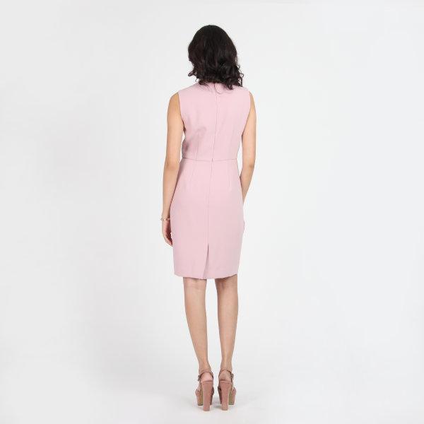 Jousse Dress ชุดเดรสทำงาน เดรสทำงาน เดรสใส่ทำงาน แขนกุด สีชมพู แต่อินทนูข้างเอว ทรงสอบเข้ารูป JT7TPI