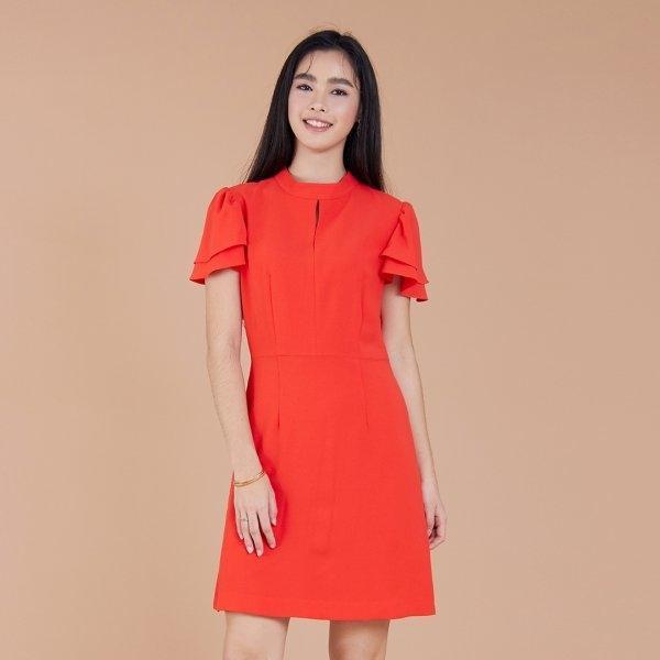 Jousse Dress ชุดเดรสทำงาน เดรสทำงาน เดรสสีแดง ทรงเอ คอแต่ง แต่งแขนระบายสองชั้น