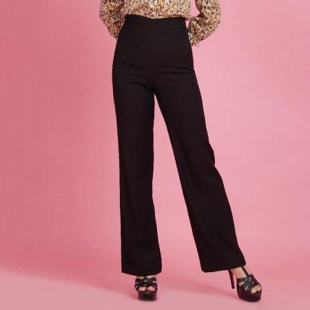 กางเกงทำงานสีดำ ขายาว ปลายขาบาน | Jousse
