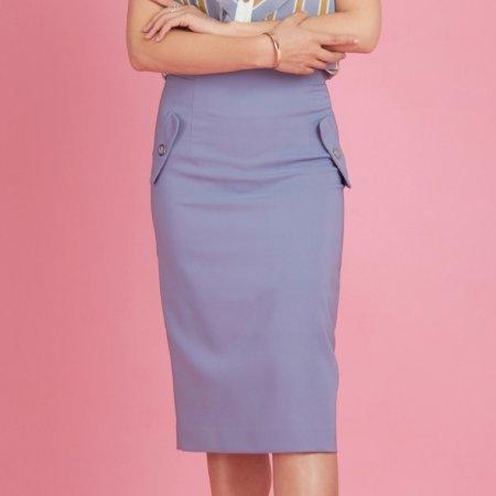 กระโปรงทำงานผู้หญิง ทรงสอบ สีฟ้า สุดสมาร์ท | Jousse