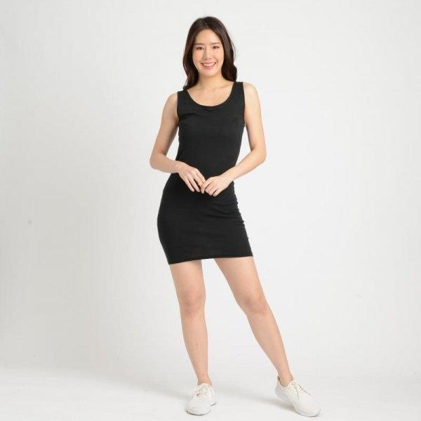 Jousse Camis เสื้อกล้ามซับในสีดำ ตัวยาว เนื้อผ้านุ่มใส่สบาย [JQ1VBL]