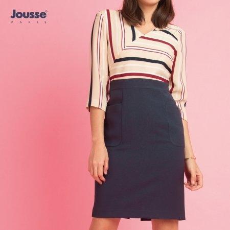 ชุดเดรสทำงานทรงสอบ ลายริ้ว สีสุภาพ  | Jousse