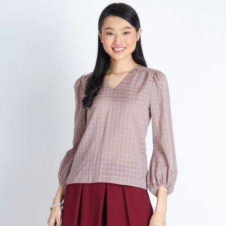 เสื้อทำงานผู้หญิง คอวี แขนยาวแฟชั่น สีชมพูลายตาราง | Jousse