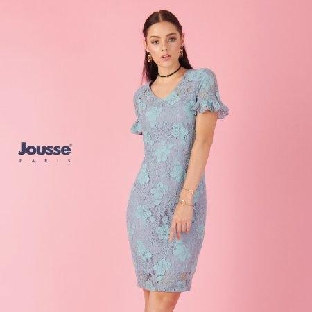 ชุดเดรสไปงานแต่ง ผ้าลูกไม้สีฟ้า | Jousse
