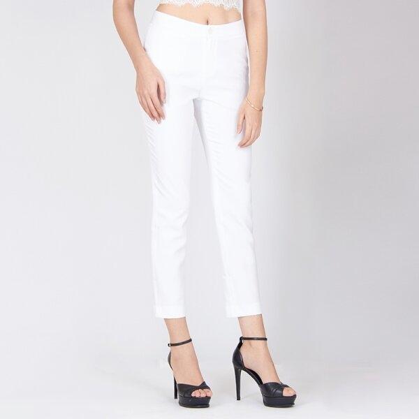 Jousse Pants กางเกงขายาวสีขาว ทรงเข้ารูป เก็บช่วงเอว กระชับสะโพก JV2FWH