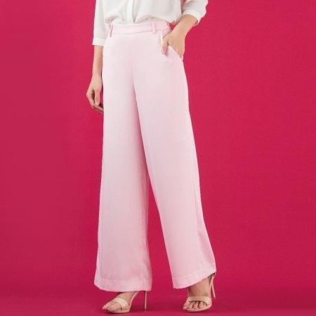 กางเกงขายาวผู้หญิง เอวสูง ปลายขาบาน สีชมพูสุดหวาน | Jousse JS2HPI