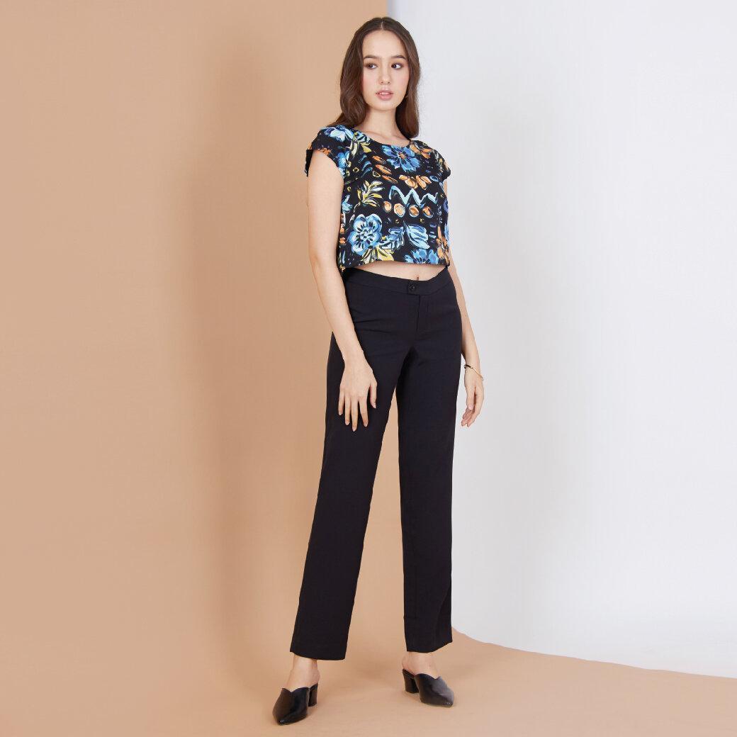 Jousse Blouse เสื้อครอปตัวสั้น ลายดอกไม้กราฟฟิค สีดำ JS4LBL