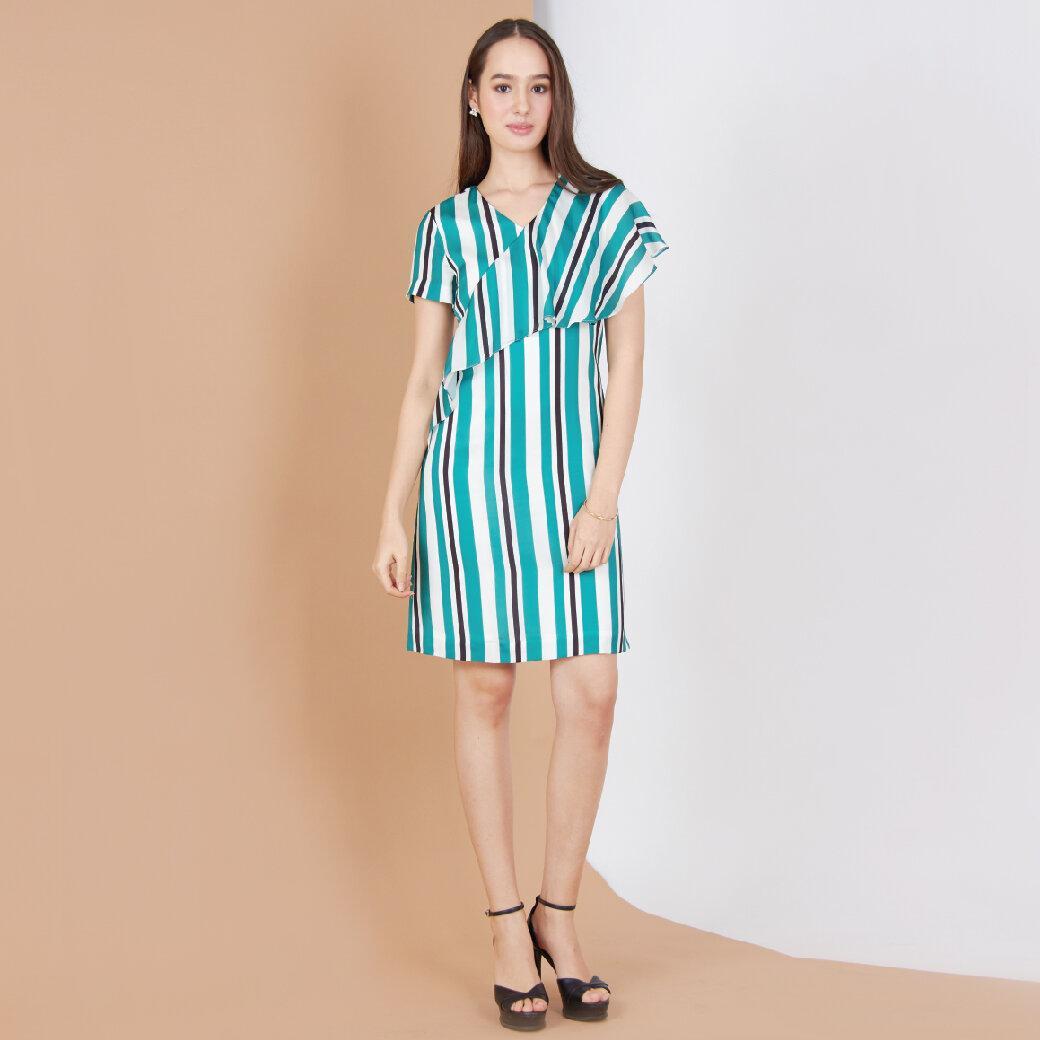 Jousse Dress ชุดเดรสทำงาน ลายทางตรงสีเขียวและขาว ผ้าซาติน ทรงเอ  JT7SGR