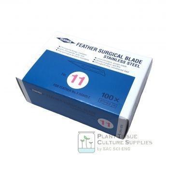 ใบมีดผ่าตัดเบอร์ 11 - Scalpel Blades No.11 ยี่ห้อ Feather (100 pcs/box)