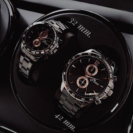 267 นาฬิกาคู่สีดำหน้าพิ้งค์โกลด์