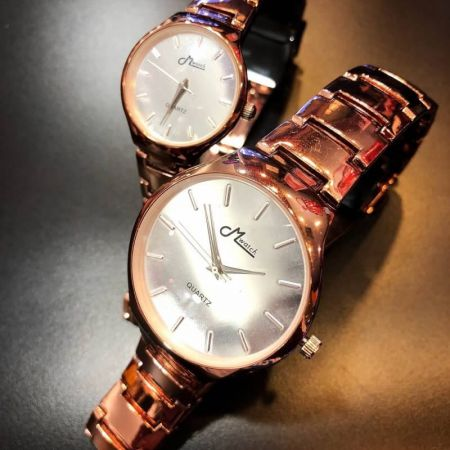 159 Couple watches Brown / silver dial เรือนน้ำตาลหน้าปัดเงิน