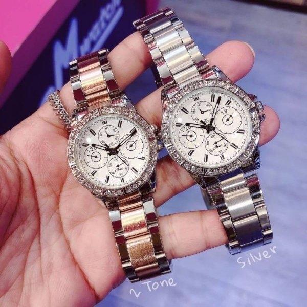 Mwatch 375 นาฬิกาข้อมือผู้หญิง Silver& 2Tone
